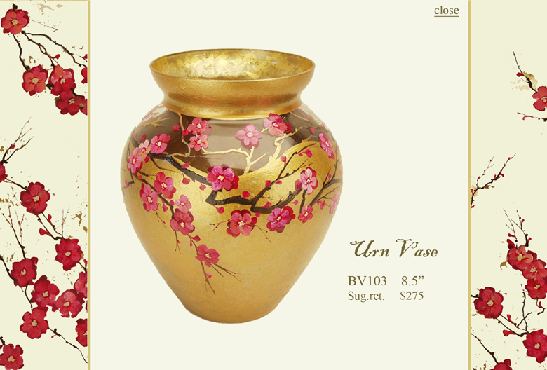 Diana Gaikazova Urn Vase :  plum blossom designer urn home accents